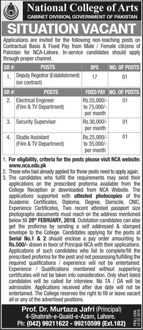 Jobs In National College Of Arts 14 Feb 2018
