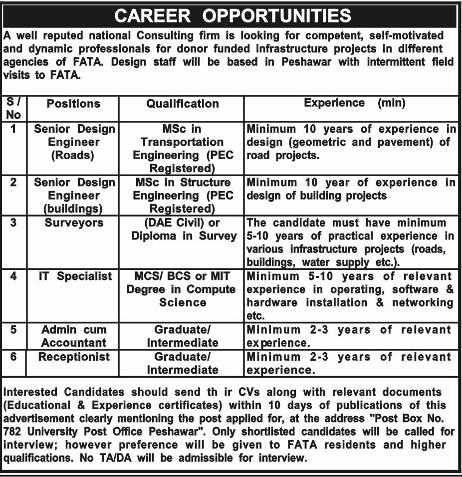 Jobs in National Consulting Firm FATA 24 May 2018