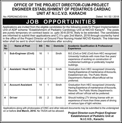 Jobs in National Institute of Cardiology in Karachi 15 Feb 2018