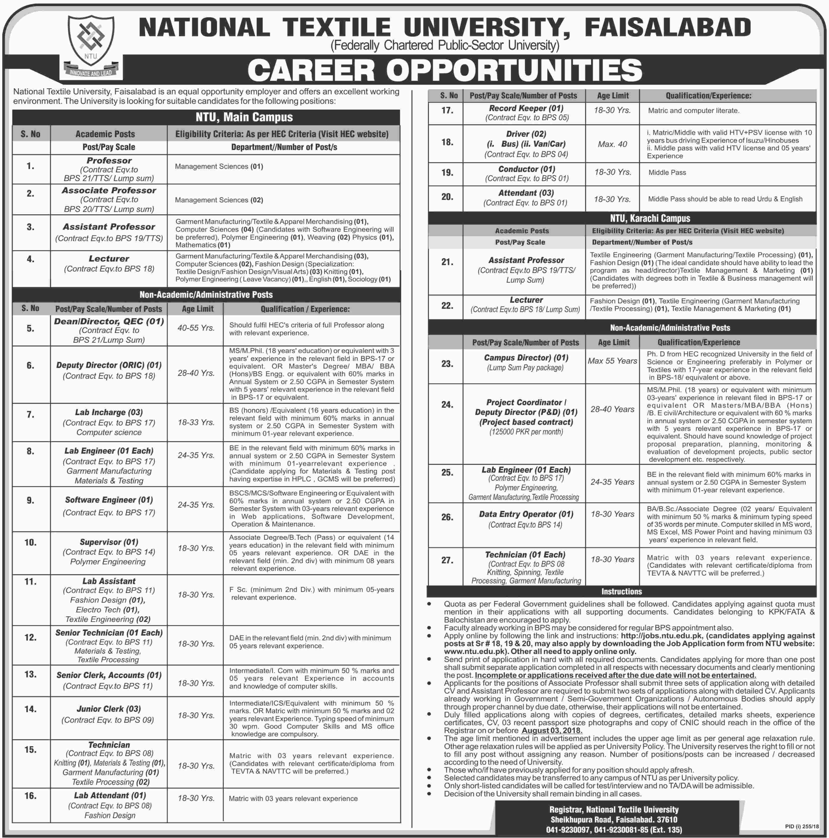 Jobs in National Textile University Faisalabad 15 July 2018