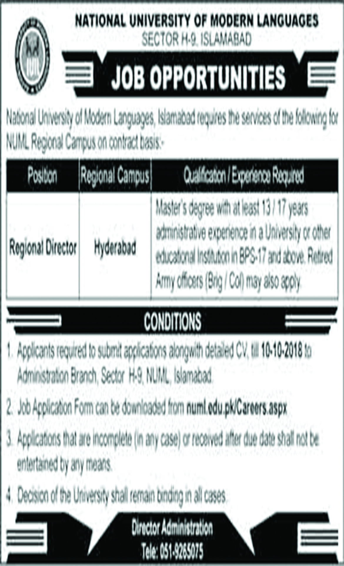 Jobs In National University Of Modern Languages 27 Sep 2018