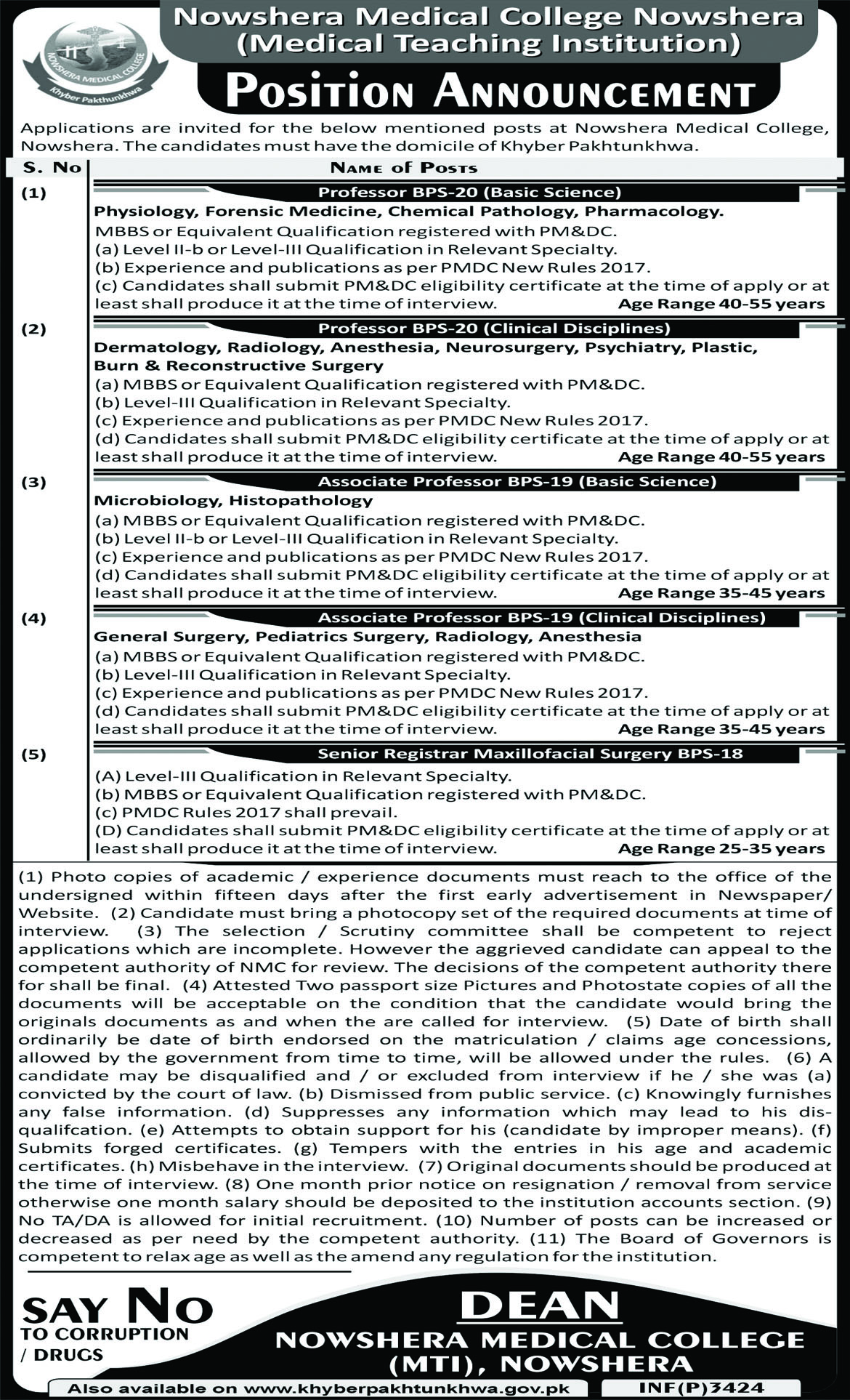 Jobs In Nowshera Medical College 27  Aug  2018