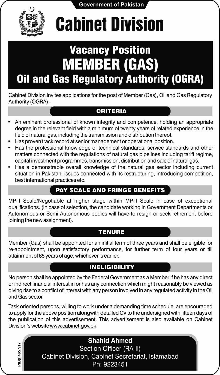 Jobs In Oil And Gas Regulatory Authority 27 Feb 2018