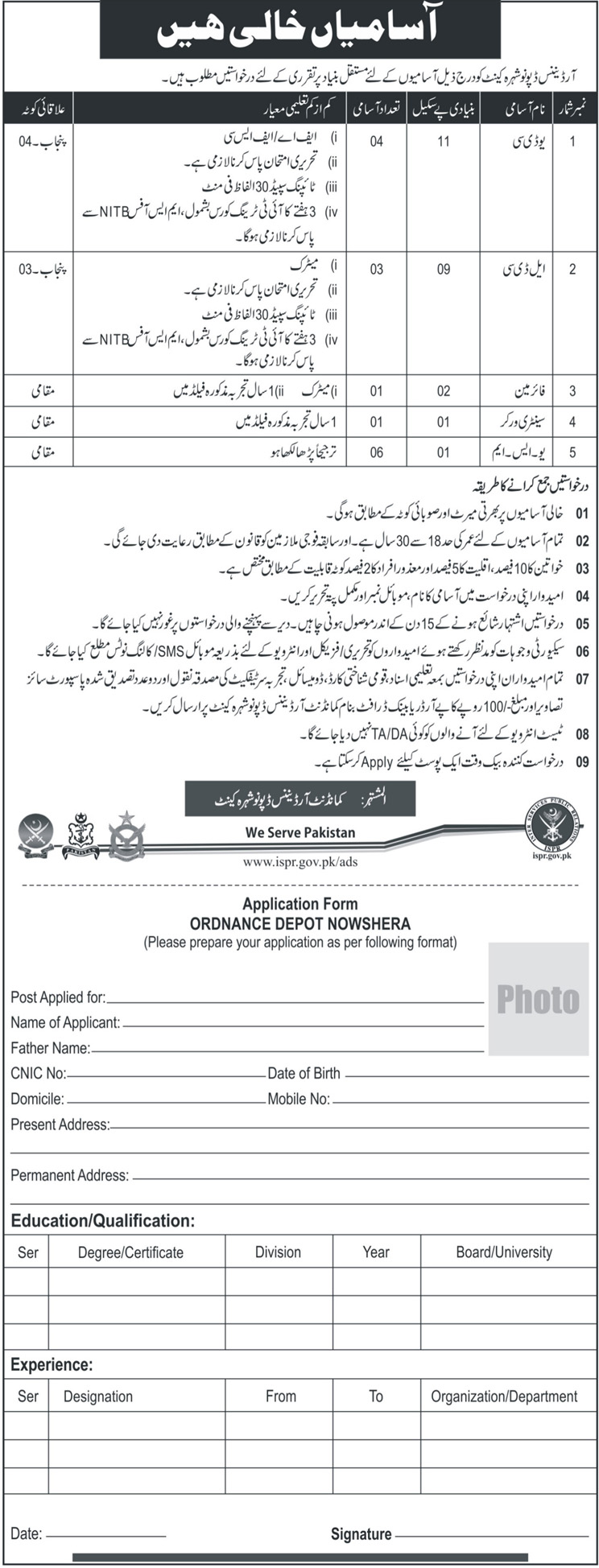 Jobs In Ordinance Depute Nowshera Cantt 25 Mar 2018