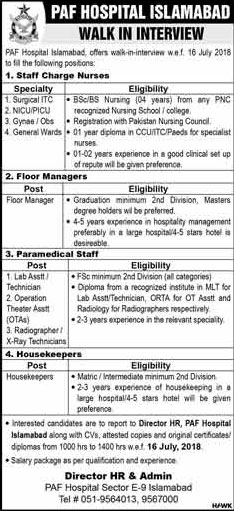 Jobs in PAF Hospital Islamabad 15 July 2018