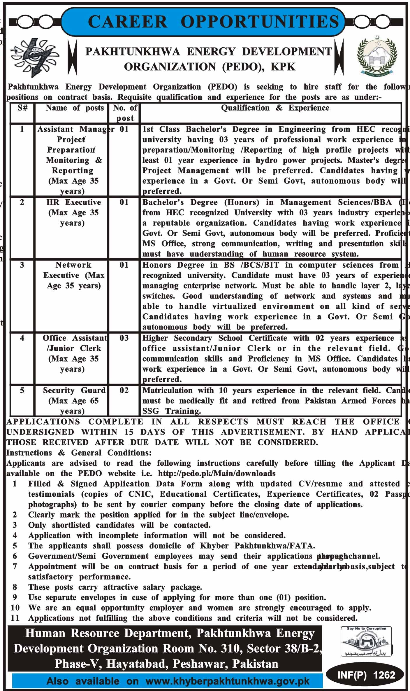 Jobs in Pakhtunkhwa Energy Development Organization 12 March 2018