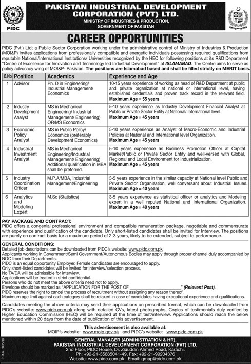 Jobs in Pakistan Industrial Development Corporation Pvt Ltd 08 April 2018