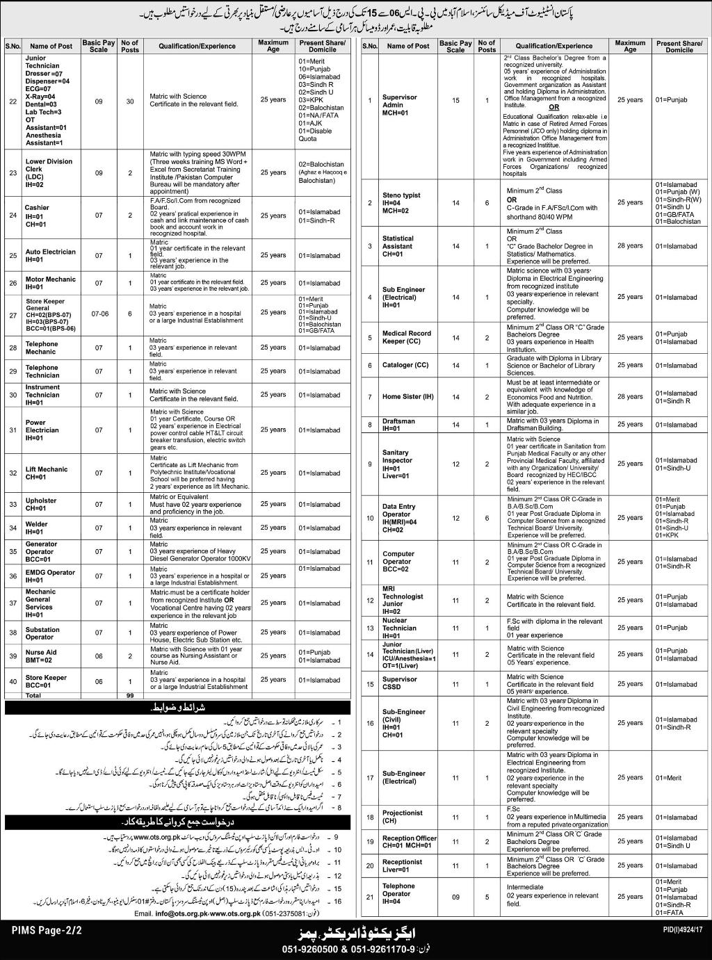 Jobs in Pakistan Institute of Medical Sciences Islamabad 11 March 2018
