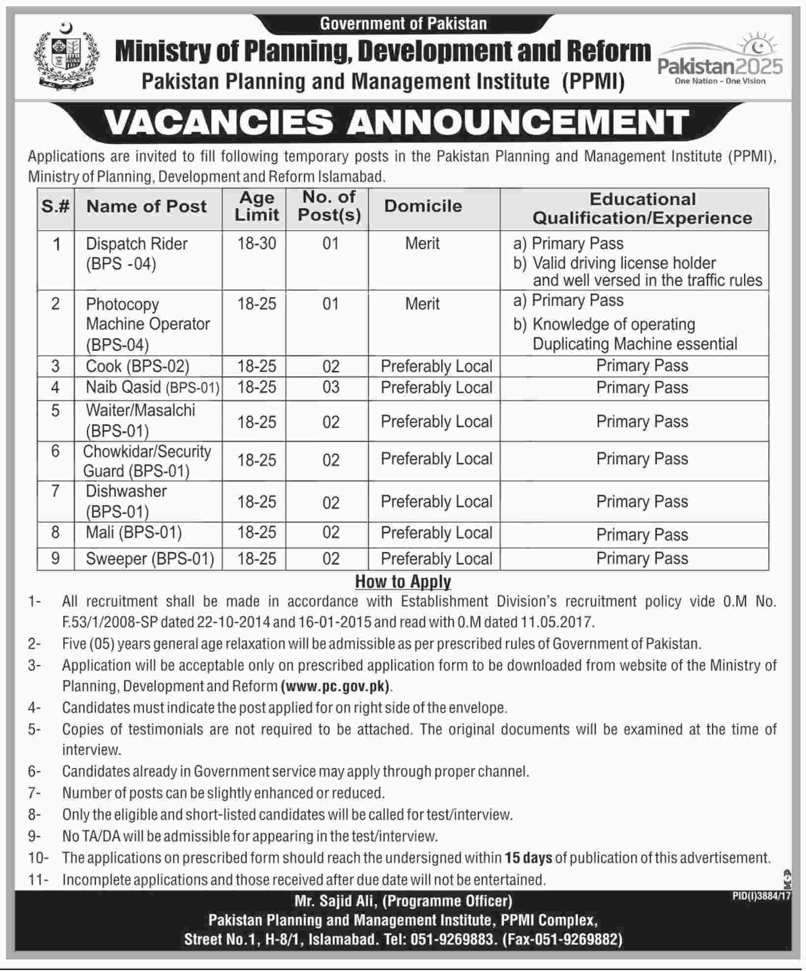 Jobs in Pakistan Planning and Management Institute 21 Jan 2018