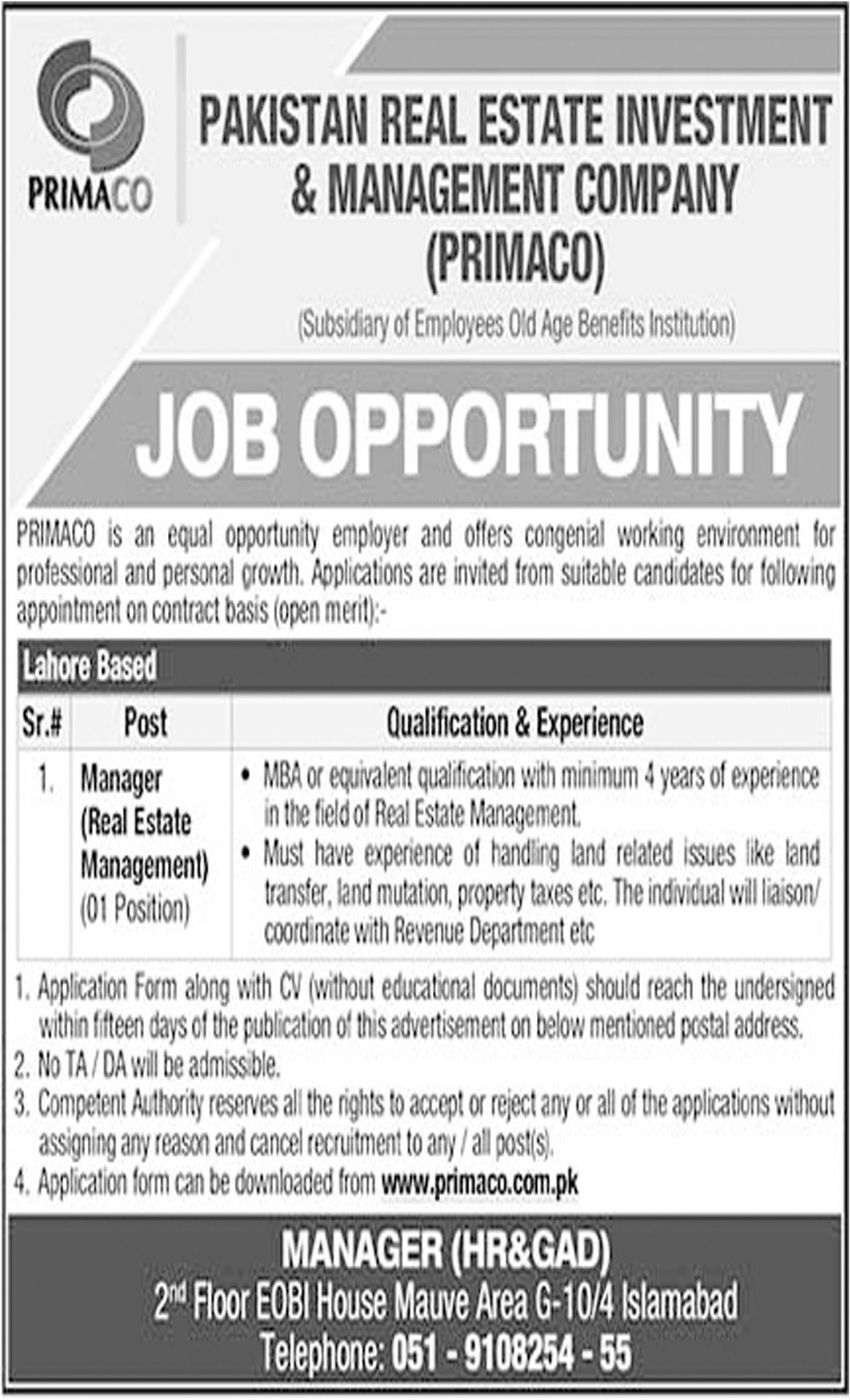 Jobs In Pakistan Real Estate Investment And Management Company 10 Oct 2018