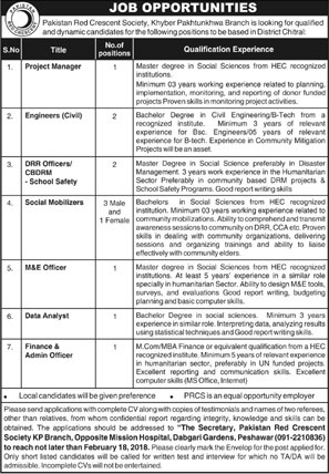 Jobs In Pakistan Red Crescent Society 10 Feb 2018