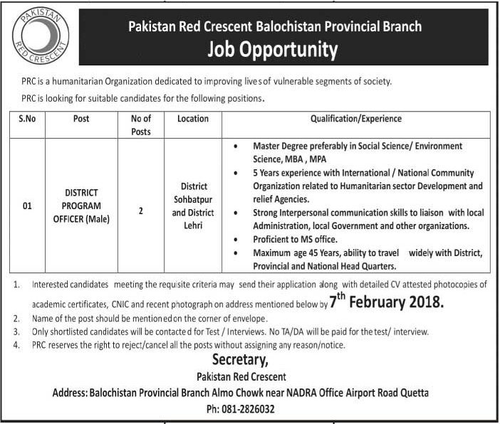Jobs In Pakistan Red Crescent Society 24 Jan 2018