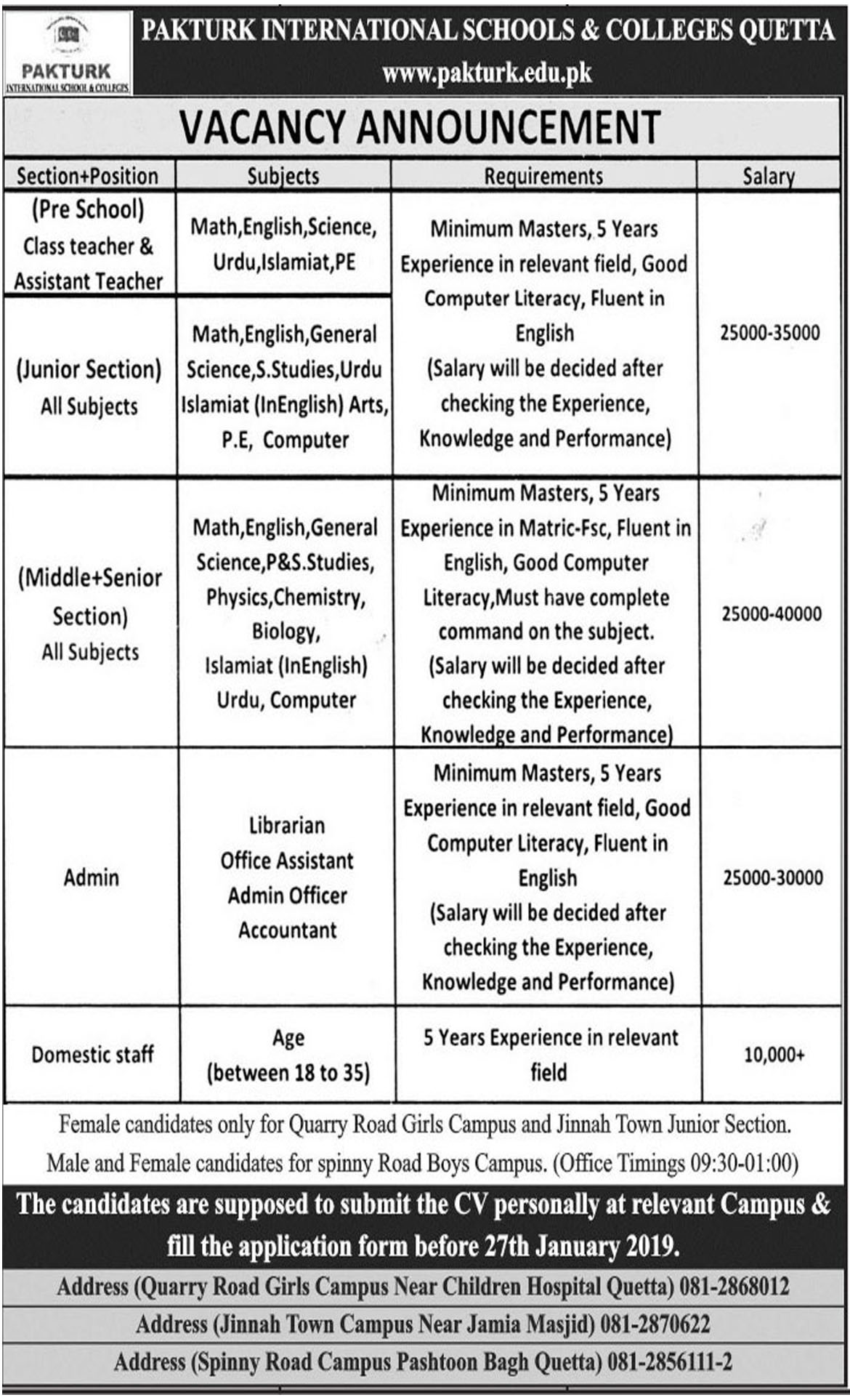 Jobs In Pakturk International School And Colleges 07 Dec 2018