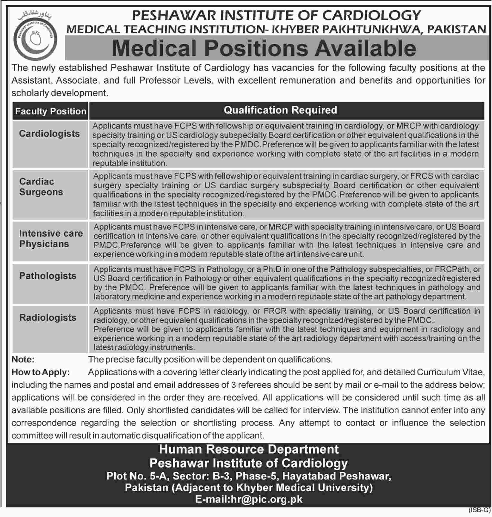 Jobs In Peshawar Institute Of Cardiology 16 Jan 2018