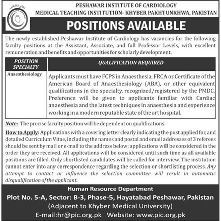 Jobs In Peshawar Institute Of Cardiology 26 Jan 2018