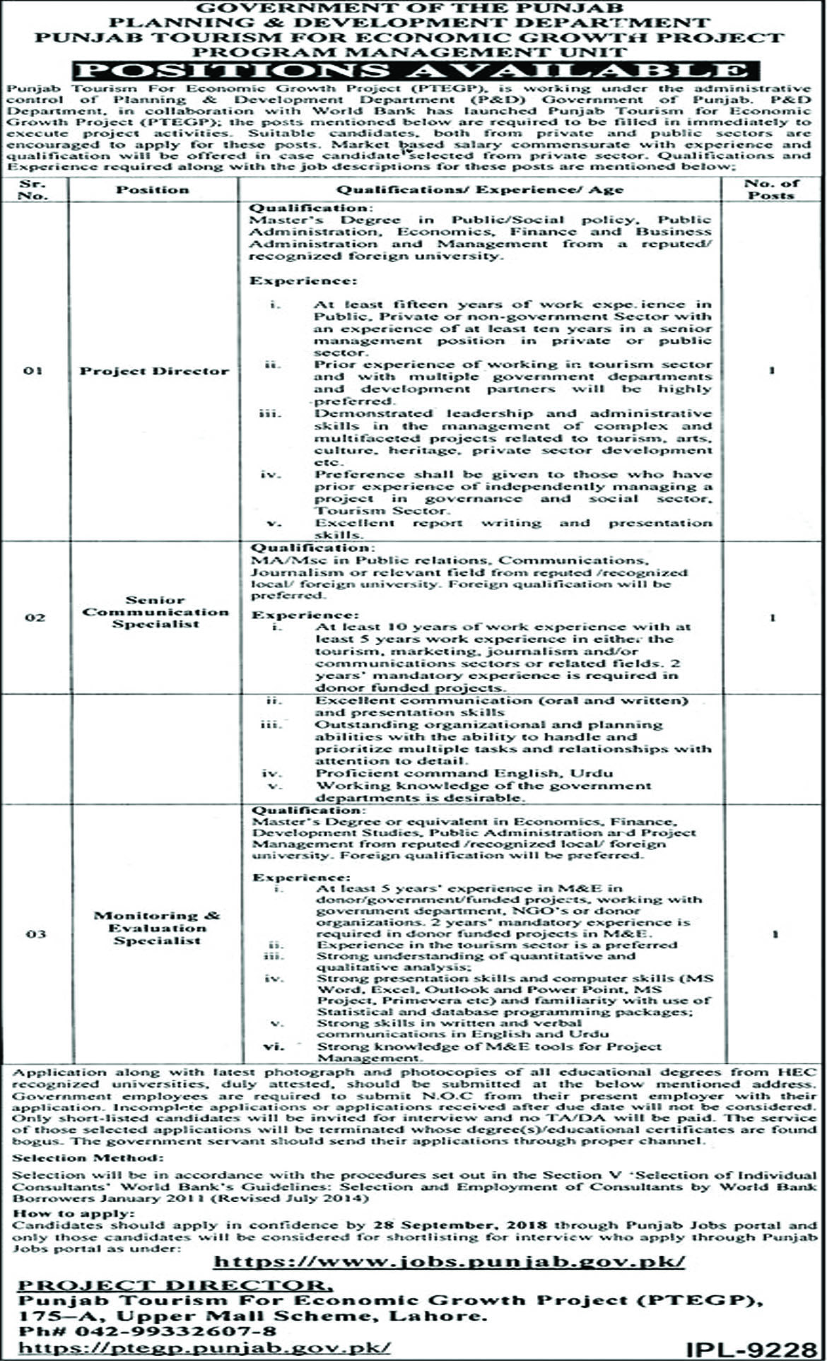 Jobs In Planning And Development Department Govt Of The Punjab 13 Sep 2018