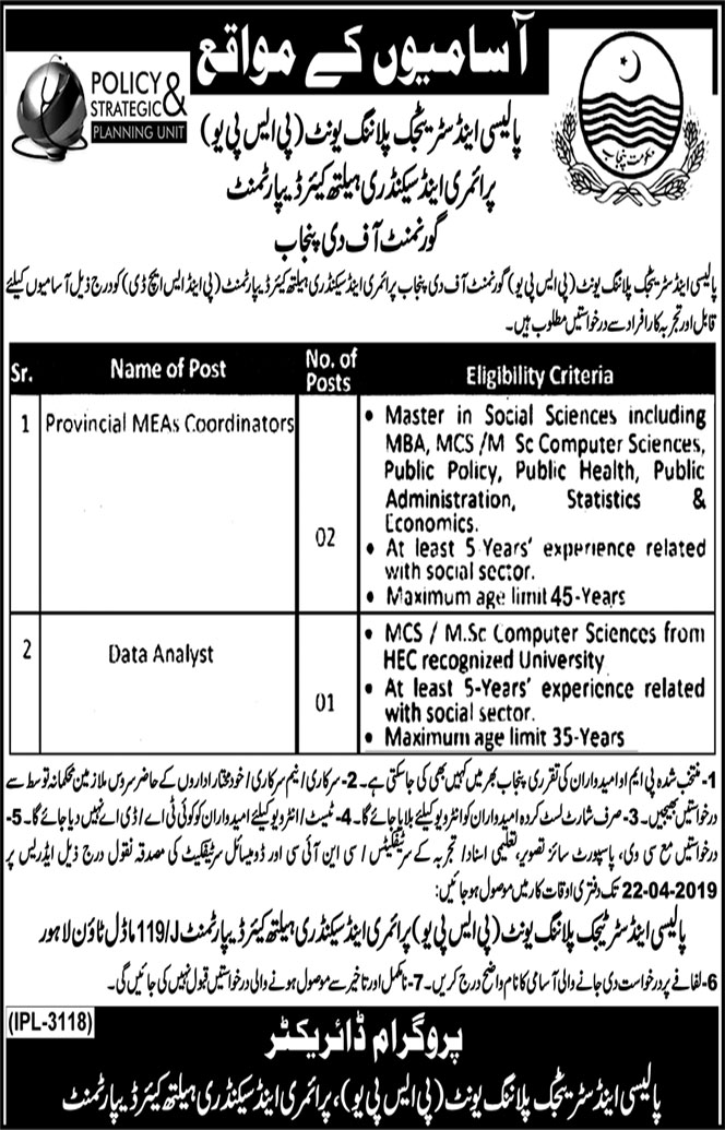 Jobs in Policy and Strategic Planning Unit Lahore