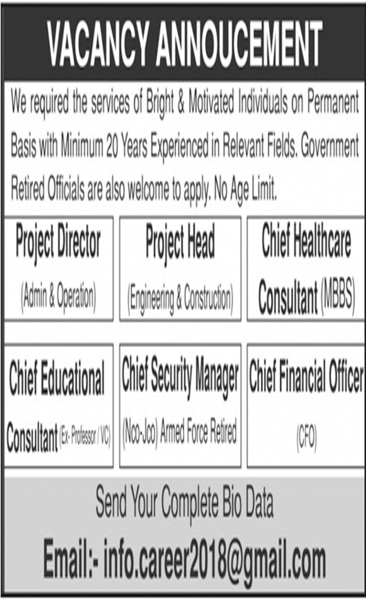 Jobs In Project Director, Project Head, Chief Security Manager, Chief Financial Officer 03 Oct  2018