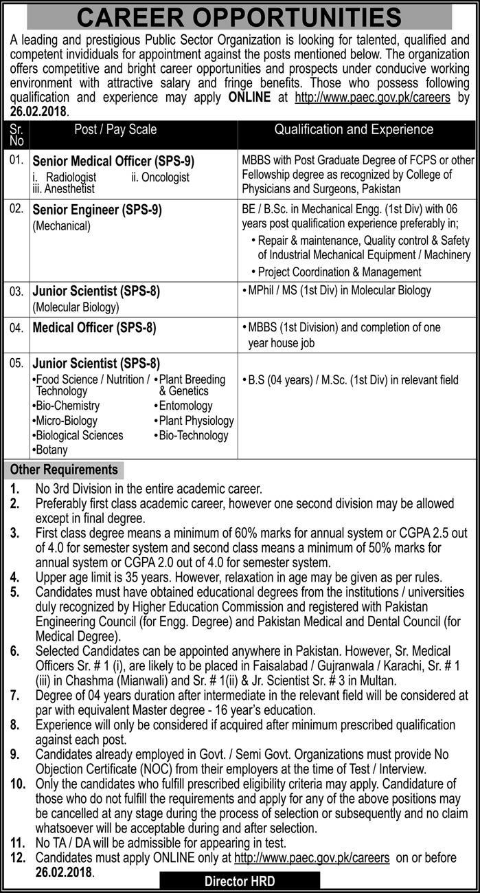 Jobs in Public Sector Organization Pakistan 11 Feb 2018