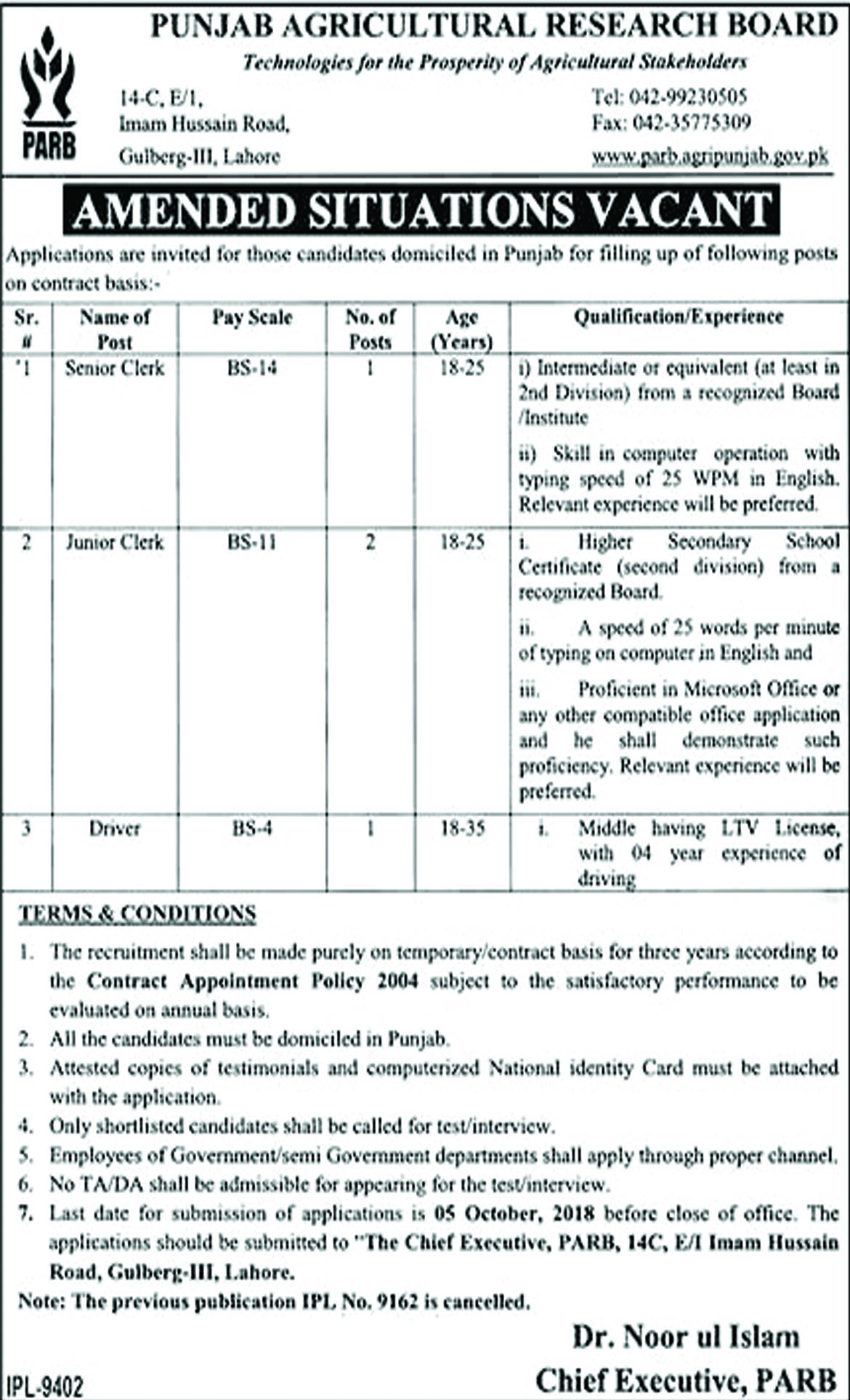 Jobs In Punjab Agriculture Research Board 24 Sep 2018