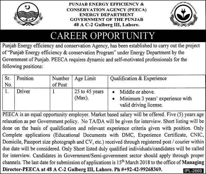 Jobs In Punjab Energy Efficiency & Conservation Agency 02 Mar 2018