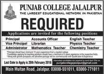 Jobs in Punjab Group of Colleges in Jalalpur 11 Feb 2018