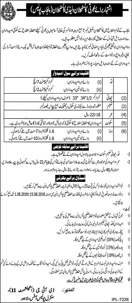 Jobs in Punjab Police Lahore 11 July 2018