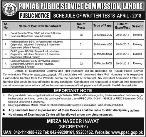 Jobs in  Punjab Public Service Commission Lahore 27 April 2018
