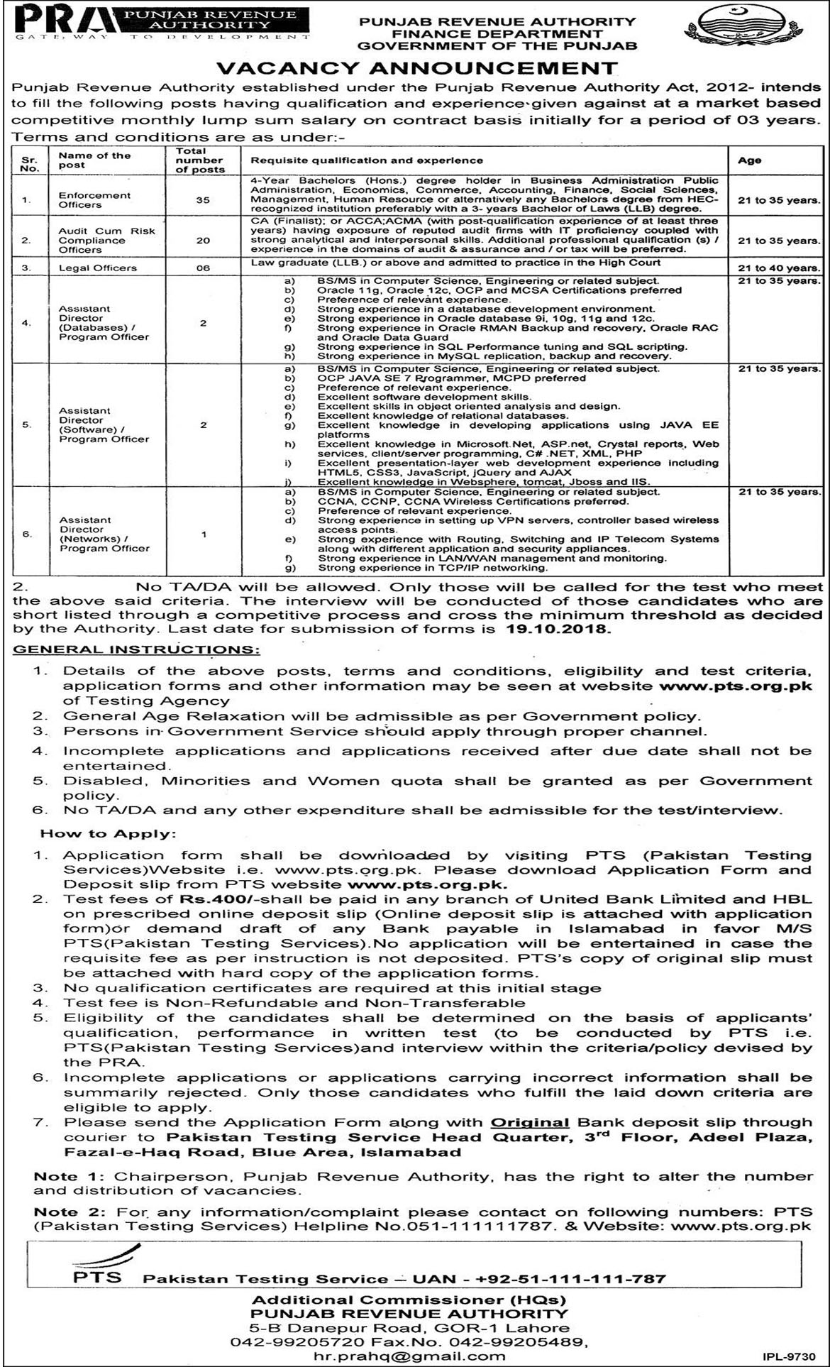 Jobs In Punjab Revenue Authority Finance Department 03 Oct 2018