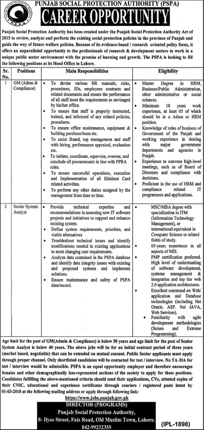 Jobs in Punjab Social Protection Authority in Lahore 14 Feb 2018
