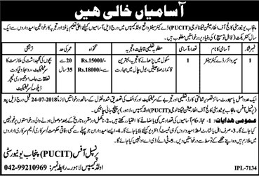 Jobs in Punjab University College of Information Technology 09 July 2018