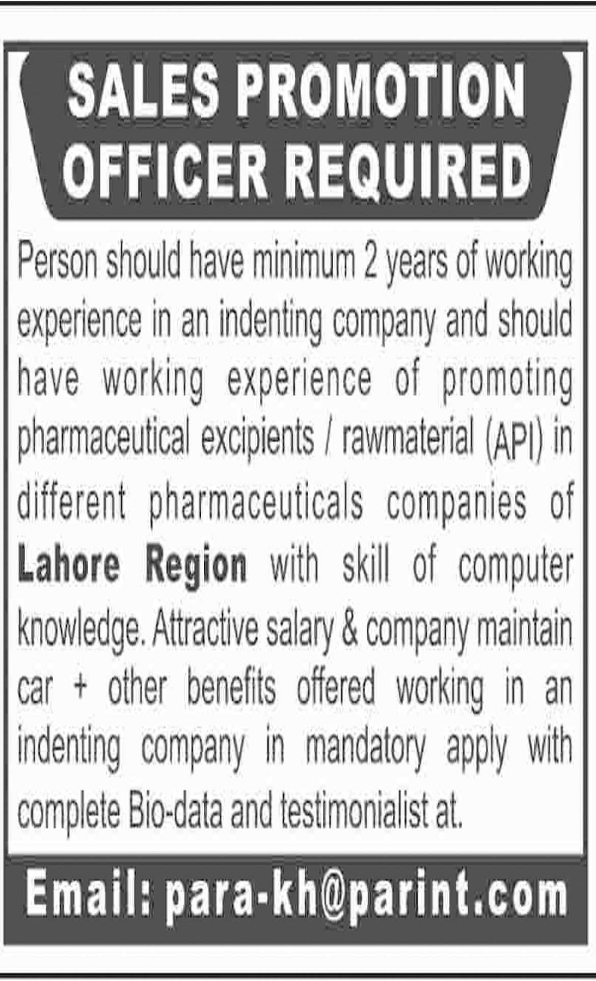 Jobs In Sales Promotion Officer Required In Lahore