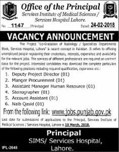 Jobs In Services institute Of Medical Sciences 01 Mar 2018