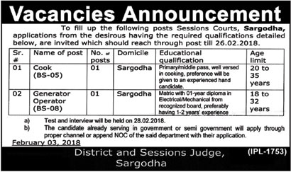 Jobs in Session Court Sargodha 09 Feb 2018