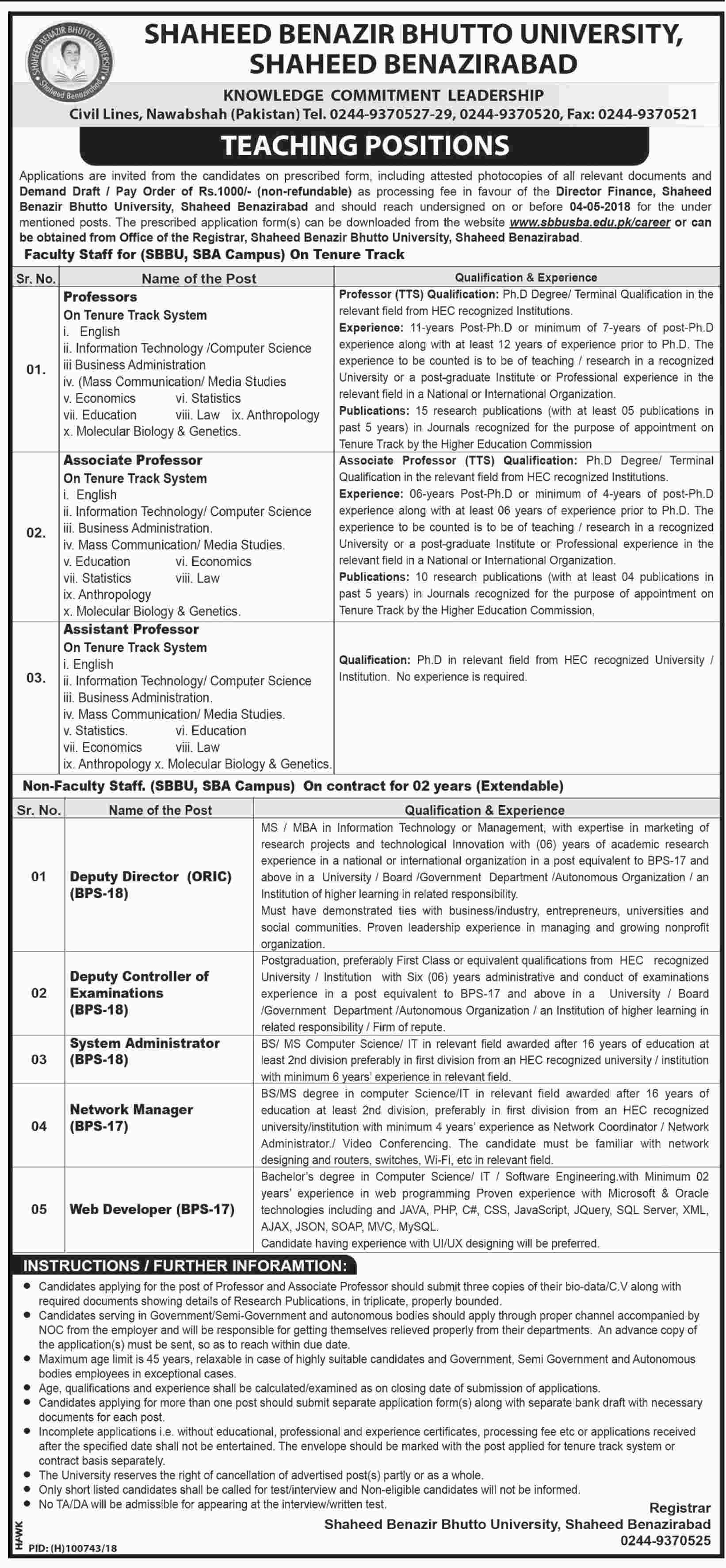 Jobs In Shaheed Benazir Bhutto University 14 Apr 2018