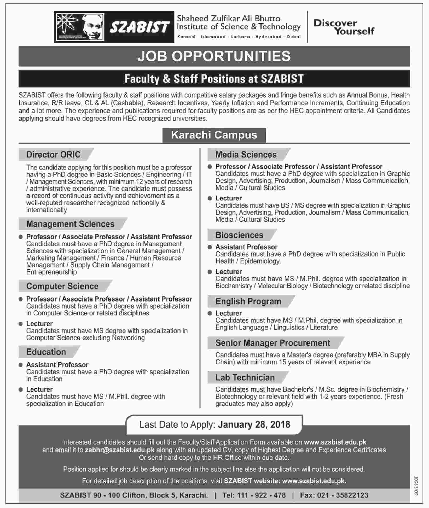 Jobs In Shaheed Zulfiqar Ali Bhutto Institute Of Science & Technology 15 Jan 2018