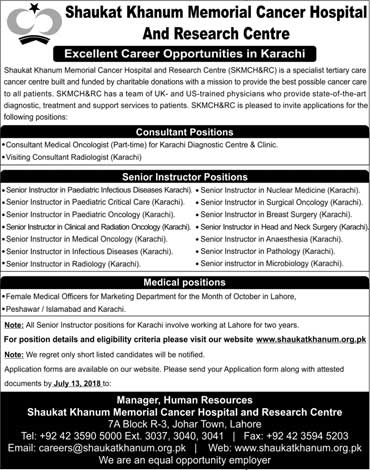Jobs in Shaukat Khanum Memorial Cancer Hospital 01 July 2018