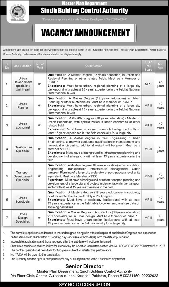 Jobs In  Sindh Building Control Authority 15 Mar 2018