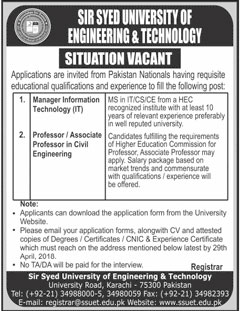 Jobs in Sir Syed University of Engineering and Technology 21
