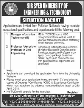 Jobs in Sir Syed University of Engineering and Technology 21 April 2018