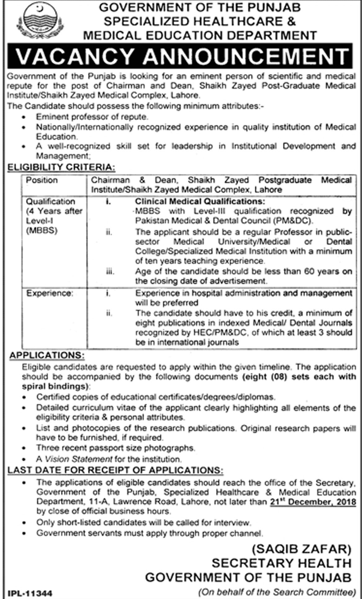 Jobs In Specialized Healthcare And Medical Education Department 07 Dec 2018