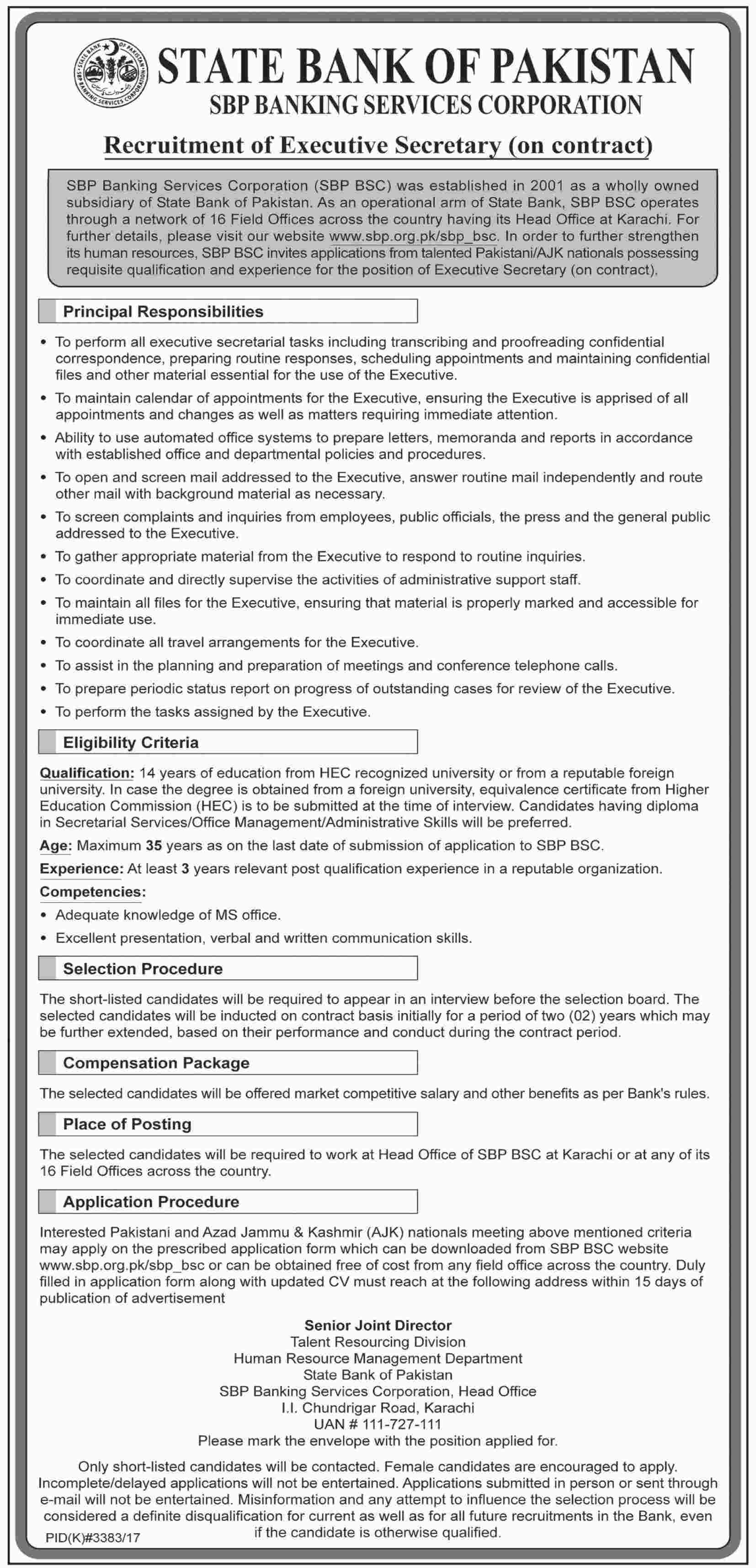 Jobs in State Bank of Pakistan 11 March 2018