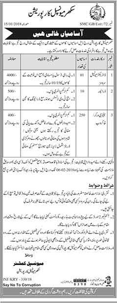Jobs In Sukkur Miunciple Corporation 19 Jan 2018