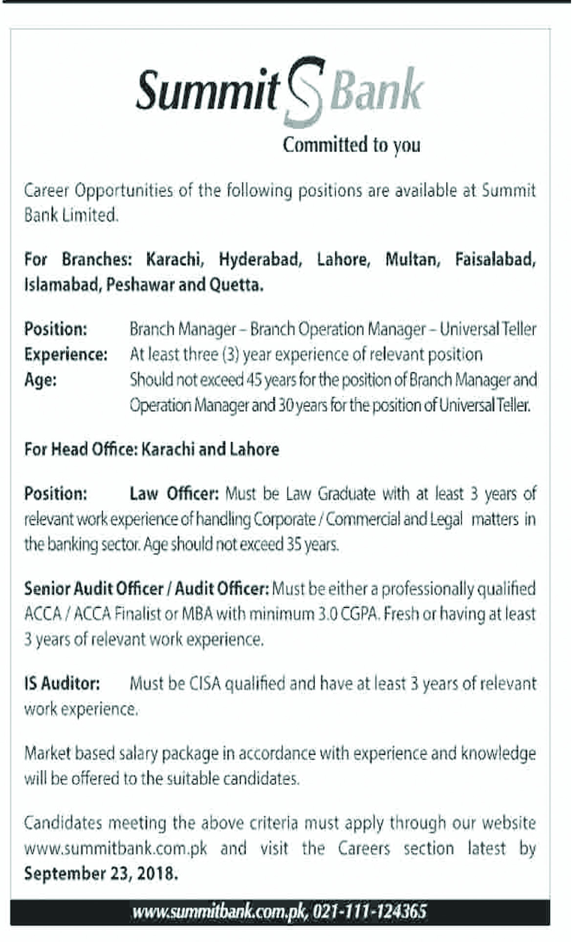 Jobs In Summit Bank Limited 17 Sep 2018