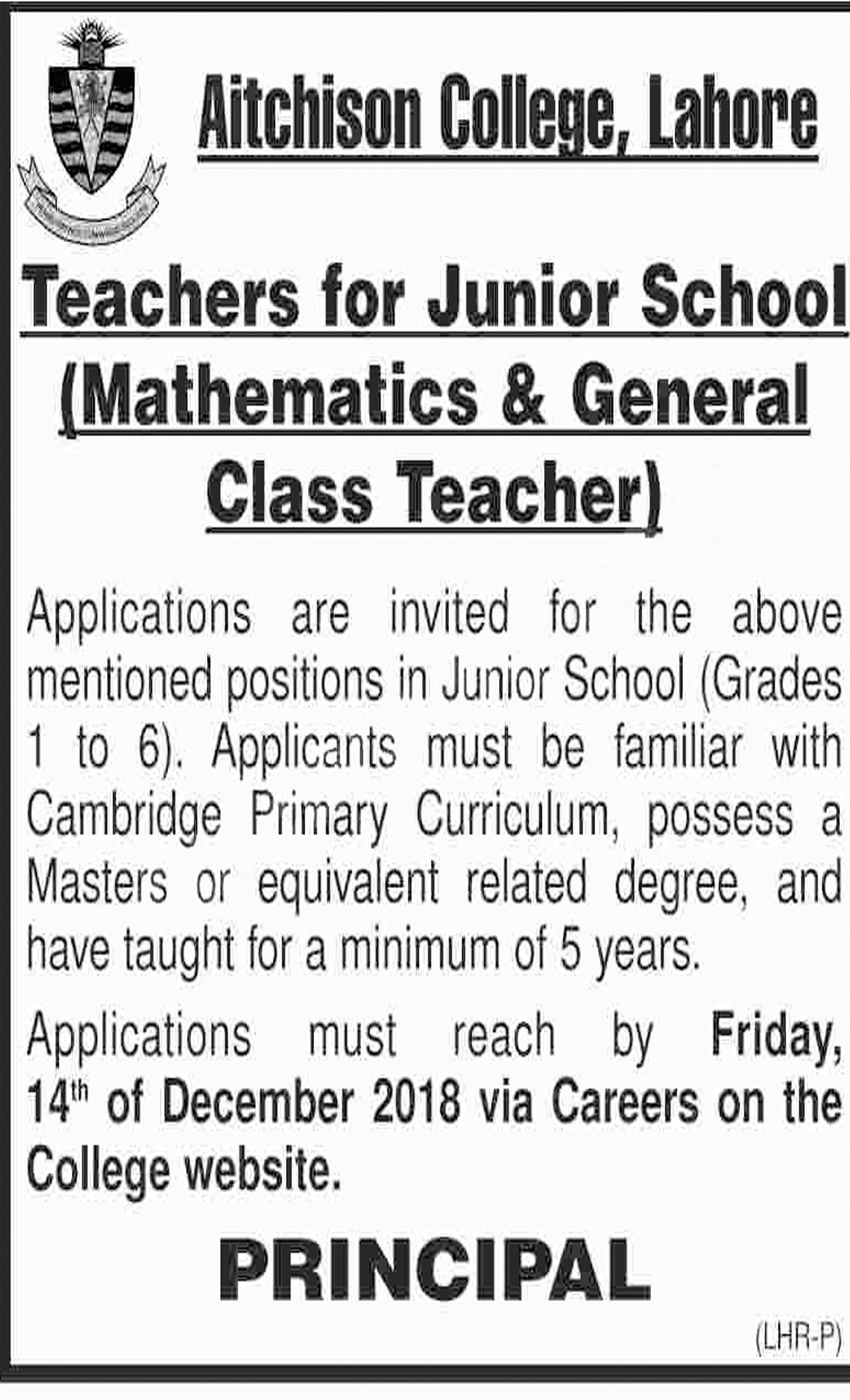 Jobs In Teachers Aitchison College Lahore 07 Dec 2018