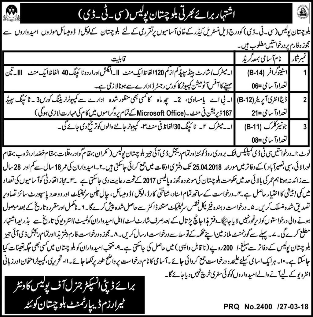 Jobs In Terrarium Department Balochistan 29 Mar 2018