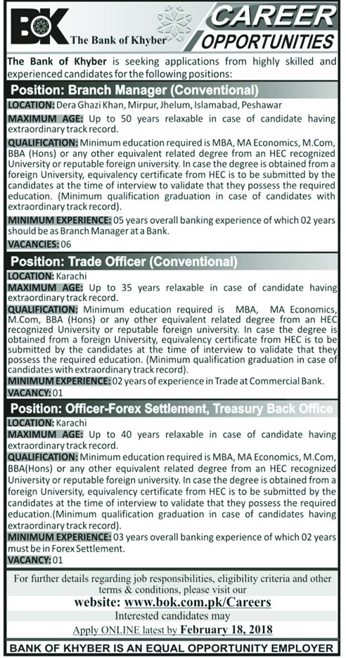 Jobs in The Bank of Khyber 04 Feb 2018