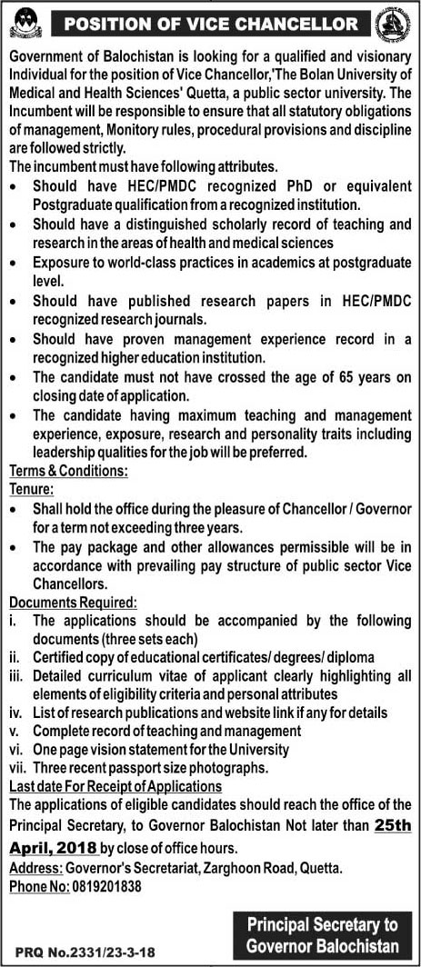 Jobs In The Bolan University Of Medical And Health Science 24 Mar 2018