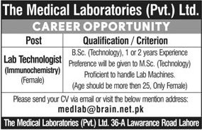 Jobs in The Medical Laboratories Pvt Ltd 18 March 2018