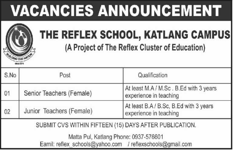 Jobs In The Reflex School, Katlang Campus 06 Feb 2018